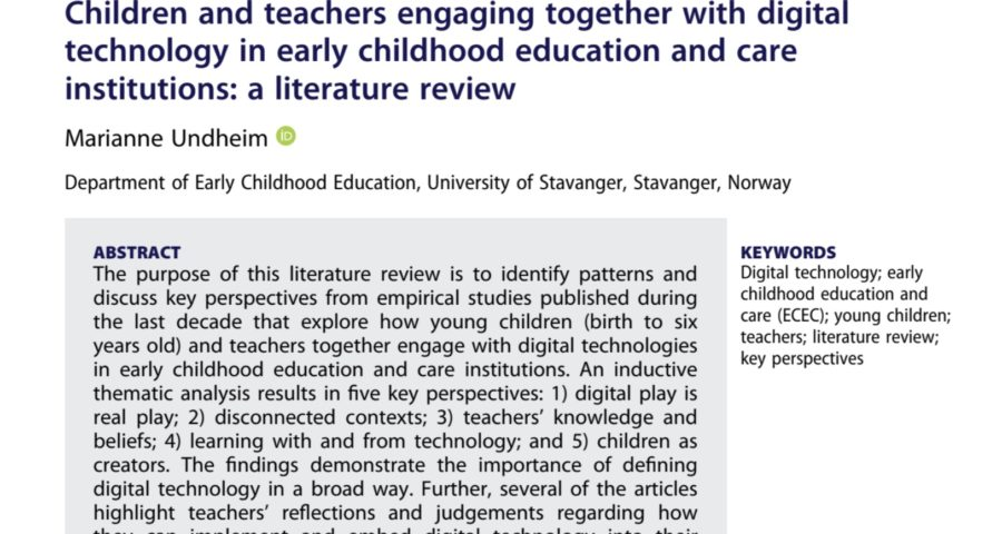 Barnehagebarn og digital teknologi